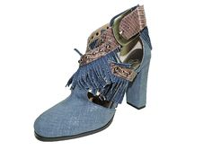 June Ambrose Denim Blue and western Snakeskin Fringed 4' heels, pumps, sandals, Size 8 M >>> Click image to review more details.