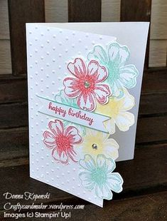 Flowers on side, sweet font on teeny sentiment