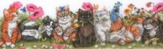 Kittens in a Row - counted cross stitch kit Coats Crafts Counted Cross Stitch Kits, Cross Stitching, The Row, Dog Cat, Kittens, Anchor, Projects, Crafts, Animals