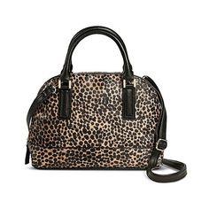 Merona Women's  Dome Satchel Handbag - Brown Animal Print ($35) ❤ liked on Polyvore featuring bags, handbags, cocktail purse, brown handbags, multi color purse, brown purse and special occasion handbags