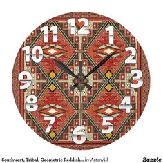 Southwest, Tribal, Geometric Reddish/Orange Large Clock