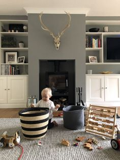 Farrow & Ball Paint Colours in My Home – Just A Little Build – Livingroom WOW – Living Room Ideas Living Pequeños, Cottage Living Rooms, Living Room Shelves, Living Room Grey, Living Room Interior, Home And Living, Modern Living, Living Room Toy Storage, Small Living