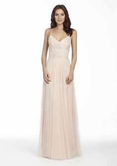 37c2021eeee3 Style 5764 | Almond English Net A-line bridesmaid gown, Almond caviar  draped bodice