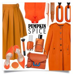 """""""Monochrome: Pumpkin Spice"""" by marina-volaric ❤ liked on Polyvore featuring Burberry, MARIOS, Delpozo, Manolo Blahnik, Chanel, Essie, Coccinelle, Isabel Marant, Trish McEvoy and pumpkinspice"""