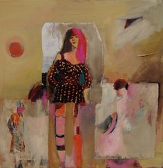 Polka Dot Dress....judy thorley...acrylic/collage