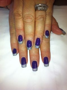 Bio sculpture gel nails purple with silver glitter tips!