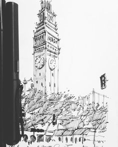 #ferrybuilding is one of the beacons of #sf. I spent some time yesterday trying to capture its essence with as little gesture as I could. Here's the final! Enjoy ... #design #architecture #sketching #weekend #sketch #drawing #draw #art #moleskine  #mymoleskine #urbansketch #illustration #lamysafari #urbansketchers #sketchbook #sketching #ink #linedrawing #sf #lamy #sk_101 #archsketch #artist #sanfrancisco #ca #northbeach