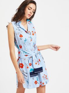Buy it now. Blue Striped Flower Print Shirt Dress With Self Tie. Blue Casual Cute Cotton Blends Lapel Sleeveless Shift Short Print Striped YES Spring Summer Fall Shirt Dresses. , vestidoinformal, casual, camiseta, playeros, informales, túnica, estilocamiseta, camisola, vestidodealgodón, vestidosdealgodón, verano, informal, playa, playero, capa, capas, vestidobabydoll, camisole, túnica, shift, pleat, pleated, drape, t-shape, daisy, foldedshoulder, summer, loosefit, tunictop, swing, day, of...
