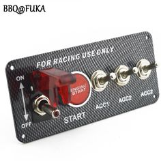 BBQ@FUKA Racing Car 12V LED Toggle Ignition Switch Panel Engine Start Push Button Car Styling Auto Parts Accessories