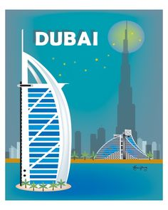 Dubai wall art available in an array of finishes, materials, and sizes, this retro inspired art print will make Dubai feel close to your heart with its bright color palette and unique design. You can