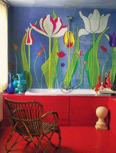 The Bathroom Van der Hilst painted the tulips in 2008.  Photo: Michael James O'Brien