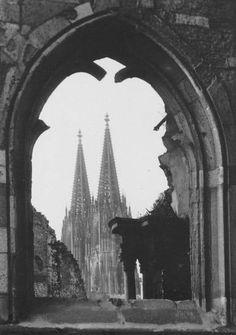 1950er, Domblick, kirche, köln, Kölner Dom, Madonna, St. Kolumba, trümmer