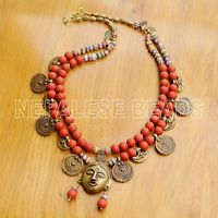 "N2287 Tibetan Nepalese Red Glass Beads Brass Necklace  27"" Tibet Nepal"