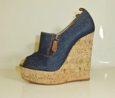 christian louboutin deroba denim wedges