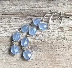 Modern Pale Blue Faceted Czech Glass Sterling Silver Dangle