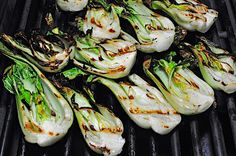 Grilled bok choy with lime zest. We cooked this on Memorial Weekend. So good!