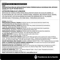 CRÓNICA FERROVIARIA: Llamado a Licitación Consultoría para estudios de ...