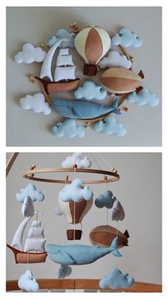 Whale baby mobile air balloon, aerostat and ship mobile nursery Felt baby mobile boy nursery hanging crib mobile newborn baby shower gift Baby Boy Room Decor, Baby Room Diy, Baby Room Design, Baby Boy Rooms, Nursery Design, Baby Cribs, Newborn Baby Gifts, Baby Boy Gifts, Baby Shower Gifts