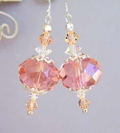 Peach pink earrings faceted glass and crystal light rose bridal earrings wedding jewelry romantic feminine and sparkly peach Swarovski Pink Earrings, Bead Earrings, Bridal Earrings, Crystal Earrings, Wedding Jewelry, Diy Swarovski Earrings, Earrings Online, Pearl Necklace, Crystal Jewelry