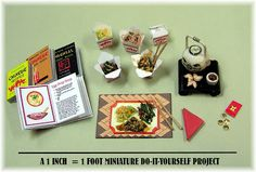"""""""DYI DOLLHOUSE MINIATURES: CELEBRATING CHINESE NEW YEAR"""" Tutorials for all items pictured. I especially like the food."""