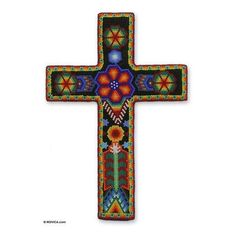 NOVICA Beadwork cross ($60) ❤ liked on Polyvore featuring home, home decor, collectibles, huichol art mexico, novica home decor, novica, mexican home decor, colorful home decor and green home decor