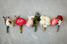 anemone ranunculus boutonnieres - non-matching bouts