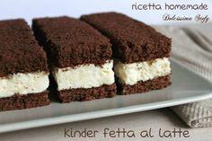 Kinder Fetta al Latte homemade Italian Bakery, Italian Desserts, Sweet Recipes, Cake Recipes, Dessert Recipes, Mini Cakes, Cupcake Cakes, Confort Food, Kinds Of Desserts