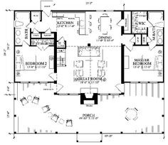 Floor Plan. River Rendezvous. William E Poole Designs. Porch with Outdoor FP or grill area,