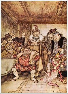Hop Frog, or The Eight Chained Ourang-Outangs BASIC (grade 10): This illustration by Arthur Rackham shows Hop-Frog, Trippetta, the king, and his advisors as they discuss costumes for the masquerade. Trippetta begs the king not to force Hop-Frog to drink any more wine.