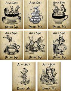 Vintage Inspired Alice in Wonderland Drink Me Tea Bag Envelopes Party Favor | eBay