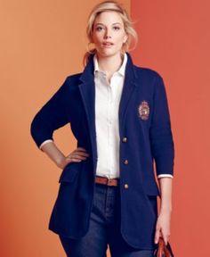 Lauren Ralph Lauren Plus Size Jacket, Embroidered Knit Blazer