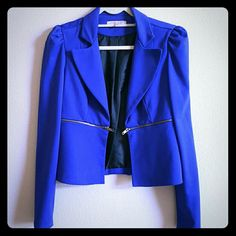 Blue Blazer Blue blazer/jacket with gold zipper detail. Casual Couture by Green Envelope   Jackets & Coats Blazers