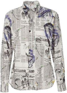 311eb96776 John Galliano Newspaper Dress | John Galliano Newspaper Print Shirt in Gray  for Men (grey