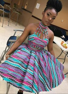 African print short dress African fashion Ankara kitenge African women dresses A African Fashion Designers, African Fashion Ankara, Latest African Fashion Dresses, African Dresses For Women, African Print Dresses, African Print Fashion, Africa Fashion, African Attire, African Wear