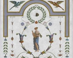 "Decorative panel created from the panel ""Psyché ouvre la boîte remise à Perséphone"" d'Etienne Dubois, le Père (1766-1839), and Henri Joseph Redouté (1766-1852)."