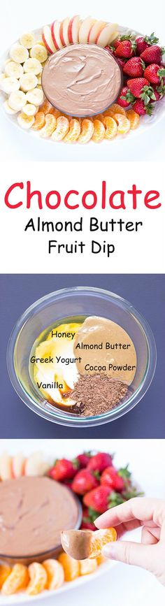 Free Fruit Dip Chocolate Almond Butter Fruit Dip - A yogurt based dip perfect for a snack, appetizer, or even dessert.Chocolate Almond Butter Fruit Dip - A yogurt based dip perfect for a snack, appetizer, or even dessert. Healthy Appetizers, Healthy Desserts, Delicious Desserts, Yummy Food, Healthy Recipes, Fruit Appetizers, Fruit Snacks, Healthy Fruit Dips, Healthy Party Snacks