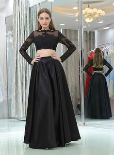 In Stock:Ship in 48 hours Black Satin Two Piece Long Sleeve Prom Dress