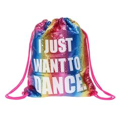 Shine bright in this drawstring bag. Covered in colorful sequins and hot pink adjustable straps. It also includes inside zippered pocket for extra storage. Drawstring closureDimensions: cm x cm Jojo Siwa Bows, Jojo Bows, Jojo Siwa Boomerang, Jojo Siwa Outfits, Jojo Siwa Birthday, Cute Bows, Dance Moms, Dance Outfits, Dance Costumes