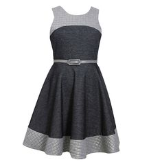 BNJ-3623-BLK-B4, Tween Girls 7-16 Chambray Quilt Belted Dress from Pink Silhouette for $32.90 on Square Market