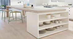 Inspirez-vous de ces DIY déco afin d'aménager un îlot de cuisine où les rangements se multiplient pour un aménagement de cuisine fonctionnel et déco