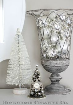 white and silver holiday decorations