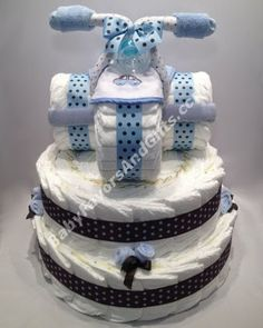 Tricycle diaper cake, unique baby shower gift ideas, centerpieces or table decorations