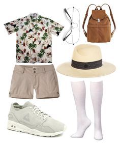 """""""Tourist"""" by michellemanhunt ❤ liked on Polyvore featuring Mountain Khakis, Le Coq Sportif, Maison Michel and BAGGU"""