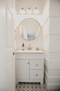 Farmhouse Bathroom Paneling, We did a different version of shiplap and put in a fun cement tile from the Cement Tile Shop, Paint- Extra White Sherwin Williams Farmhouse Bathroom Paneling, Farmhouse Bathroom Wall Paneling, Farmhouse Bathroom Wall Paneling Ideas #FarmhouseBathroomWallPaneling #Farmhouse #BathroomWallPaneling #Farmhousebathroom Beautiful Homes of Instagram Allison House.becomes.home
