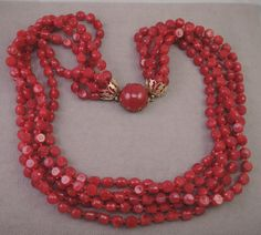 Festive 5 Strand Deep Red Plastic Necklace 1950-60s by thejeweledbear on Etsy