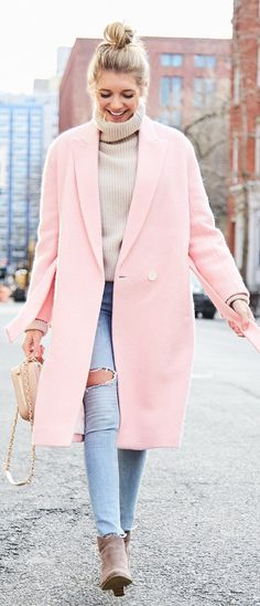 must have spring outfits /  Pink Coat / Beige Turtleneck / Destroyed Skinny Jeans / Brown Suede Booties