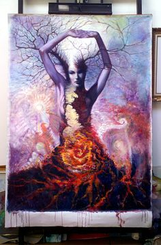 Kathleen as Tree, oil on large canvas 2010-2015 © dennis potokar All rights reserved.