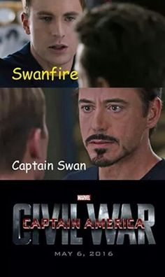 Swanfire Captain Swan Once Upon a Time Civil War Meme Steve Rogers Tony Stark Chris Evans