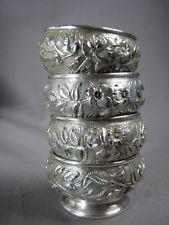 Set 4 Antique Tiffany Silverplate Holloware Repousse Floral Open Salts Pedestal