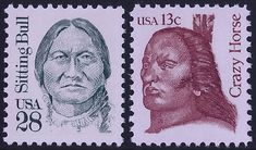 United States Scott #2183 (14 Sep 1989) Sitting Bull: Hunkpapa Lakota (Dakota Sioux) leader and holy man.  United States Scott #1855 (15 Jan 1982) Crazy Horse: Native American war leader of the Oglala Lakota.   Both Native Americans led their people during years of resistance to United States government policies regarding territory and their way of life. Sun Dance, Sitting Bull, Christopher Columbus, American War, Crazy Horse, State Government, Man United, Sioux, Way Of Life